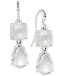 Charter Club Silver Tone Crystal Drop Earrings Only At Macy's Silver Tone