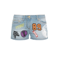 Versus Printed And Patch Applique Denim Shorts