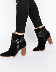 Warehouse Suede And Leather Buckle Ankle Boots Black