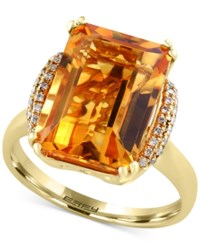 Effy Sunset By Citrine 7 1 5 Ct. T.W. And Diamond 1 8 Ct. T.W. Statement Ring In 14K Gold Orange