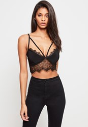 Missguided Black Harness Lace Trim Bralet