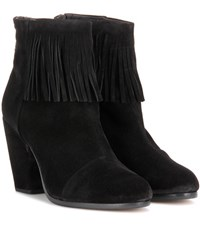 Rag And Bone Newbury Fringe Suede Ankle Boots Black