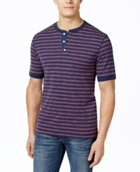 Club Room Men's Slub Striped Henley Only At Macy's Navy Blue