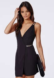 Missguided Judy Crepe Gold Chain Shift Dress Black Black