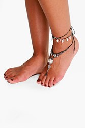 Boohoo Multi Chain Beaded Anklet Silver