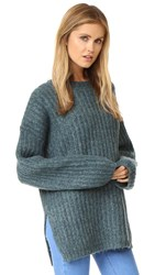 See By Chloe Ribbed Pullover Sweater Frosty Green