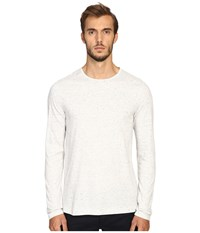 Vince Cotton Modal Mix Stitch Long Sleeve Crew Heather White Heather White