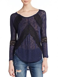 Saks Fifth Avenue Red Lace Inset Sweater Navy
