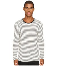 Atm Anthony Thomas Melillo Long Sleeve Striped Viscose Tee Marble Black Men's T Shirt Beige