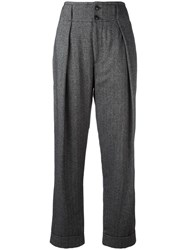 Closed High Rise Straight Trousers Grey