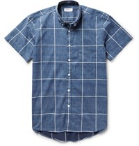 Saturdays Surf Nyc Esquina Slim Fit Button Down Collar Checked Cotton Shirt Blue