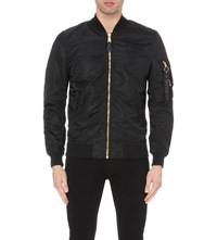 Alpha Zip Up Flight Jacket Black Gold
