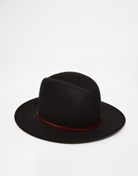 Catarzi Wide Brim Fedora Hat Black