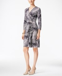 Charter Club Animal Print Faux Wrap Dress Only At Macy's Deepest Navy Combo