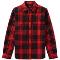 Cdg Homme Comme Des Garcons Wool Check Overshirt Red