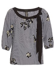 Marc Jacobs Flocked Floral Cotton Gingham Peasant Blouse Black Yellow