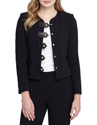 Tahari By Arthur S. Levine Petite Faux Leather Trimmed Zip Front Jacket Black