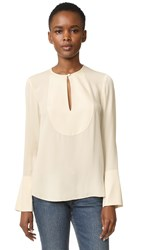 Theory Bahliee Flare Sleeve Blouse Sandy White