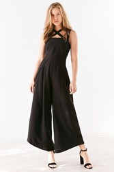 Finders Keepers Mies Cross Front Culotte Jumpsuit Black