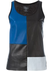 Majestic Filatures Patchwork Leather Tank Top Black