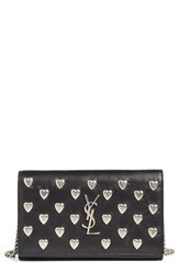 Saint Laurent Women's Hearts Calfskin Leather Wallet On A Chain