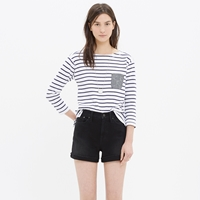 Madewell High Rise Denim Shorts In Washed Black
