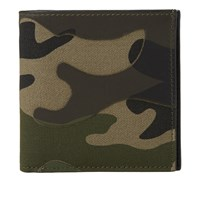 Valentino Camouflage Leather And Canvas Billfold Wallet Green