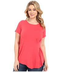 Vince Camuto Plus Size Short Sleeve Side Pleat Top Guava Fruit Women's Clothing Pink
