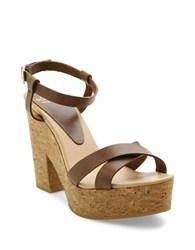 Andre Assous Finnley Leather Platform Sandals Brown