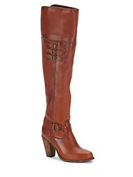 Frye Leather Knee High Boots Cognac