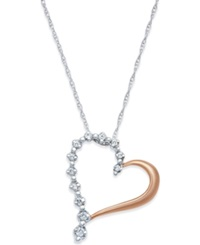 Macy's Diamond Accent Heart Pendant Necklace In 10K Rose Gold
