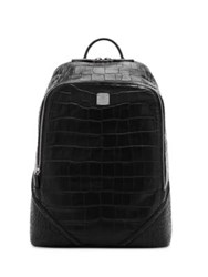 Mcm Luxus Leather And Coated Canvas Backpack Black