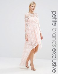 Chi Chi Petite London All Over Lace Floral Dress With High Low Hem Blush Pink