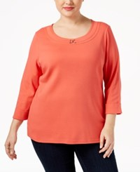 Karen Scott Plus Size Marilyn Buckle Trim Top Only At Macy's Coral Tile