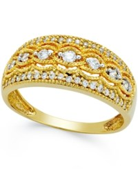 Macy's Diamond Vintage Scroll Band 1 4 Ct. T.W. In 14K Gold