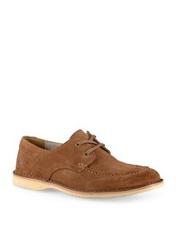 Andrew Marc New York Dorchester Brig Suede Lace Up Loafers Walnut