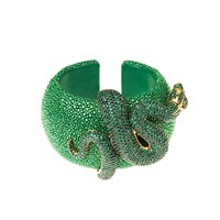 Latelita London Stingray Statement Cuff Emerald Green Gold Green