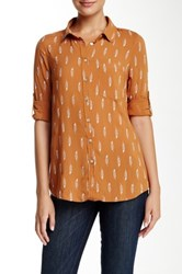 Living Doll Roll Tab Feather Print Shirt Brown