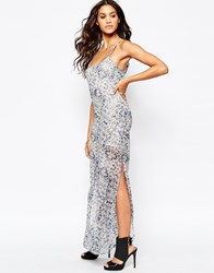 Aka Snake Print Maxi Cami Dress Purple