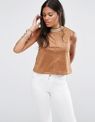 Glamorous Faux Suede Crop Top Tan Brown