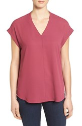 Pleione Women's High Low V Neck Mixed Media Top Burgundy Beauty