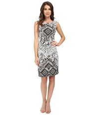 Hale Bob Animal Intuition Dress With Strappy Detail At Back Black White Women's Dress