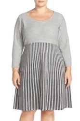 Calvin Klein Scoop Neck Fit And Flare Sweater Dress Plus Size Gray