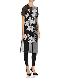 Vince Camuto Sheer Floral Print Tunic Rich Black