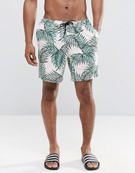 Asos Mid Length Swim Shorts With Floral And Triangle Logo Print Stone Multi