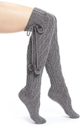 Women's Ugg Australia Pompom Cable Knit Over The Knee Socks Grey Charcoal Heather With Silver