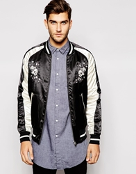 French Connection Bomber Jacket With Skull Embroidery Black