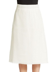 French Connection Space Lace Midi Skirt Summer White
