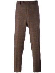 Pt01 Straight Plaid Trousers Brown