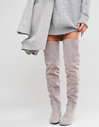 Daisy Street Lace Back Grey Over The Knee Boots Grey